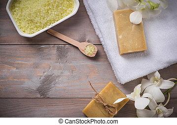 Handmade natural soap. Spa products