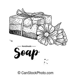 Handmade natural soap. Vector hand drawn illustration of organic cosmetic with calendula medical flowers.
