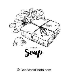 Handmade natural soap. Vector hand drawn organic cosmetic with flower