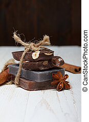 Handmade natural soap with chocolate flavor