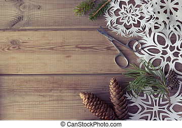 handmade paper snowflakes Christmas tree branches