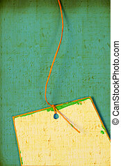 Close up of handmade paper tag for background