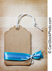 Handmade Price Tag with Blue Ribbons