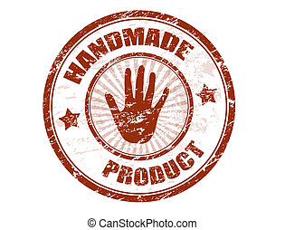 Abstract grunge office rubber stamp with the text handmade product written inside the stamp