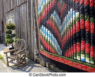 Handmade quilt and old cane chair - Gorgeous handmade...