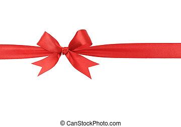 handmade red ribbon bow horizontal border, isolated