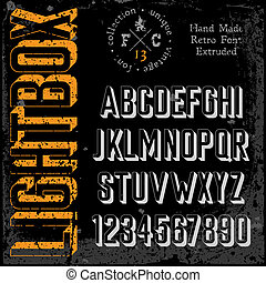 Handmade retro font. 3d extruded type. Grunge textures...