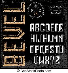 Handmade retro font. Sans serif 3d beveled type. Grunge ...