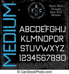 Handmade retro font. Sans serif type. Grunge textures placed...