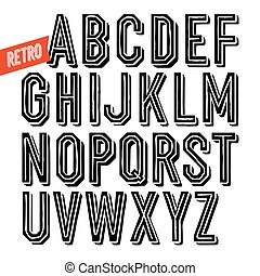 Handmade retro inline&shadow black font. Black letters on white background. Sans serif type. Decorative vector alphabet