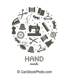 Handmade round concept with sewing and knitting icons