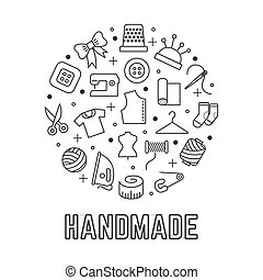 Handmade round logo design with taylor sewing linear icons isolated on white background