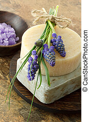 Handmade soap and grape hyacinth - Handmade soap with...