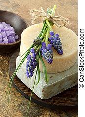 Handmade soap with lavender bath salt and grape hyacinth