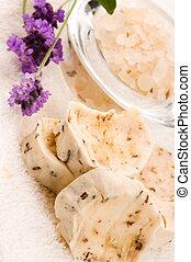 Handmade Soap With Fresh Lavender Flowers And Bath Salt