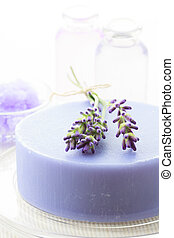 Handmade soap with fresh lavenders