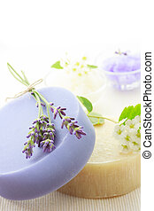 Handmade soap with lavenders and white flowers