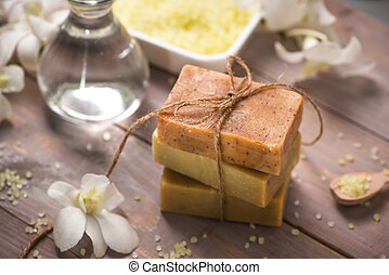 Handmade soap with white orchid. Spa products.