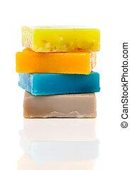 handmade soaps isolated on white - handmade soaps isolated...