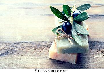 Handmade spa olive oils soap closeup. Organic soap making