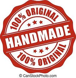 Handmade stamp on white background