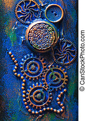 handmade steampunk background mechanical cogs wheels