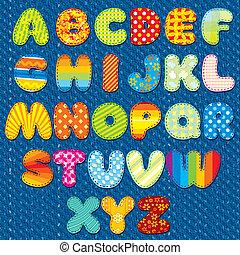 Handmade Stitches Font - Stitches Patchwork Font, Vector...