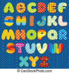 Handmade Stitches Font - Stitches Patchwork Font, Vector...