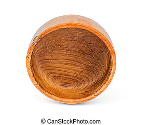 Handmade teak wooden bowl isolated on white background