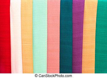 handmade, tkaniny, od, różny, kolor