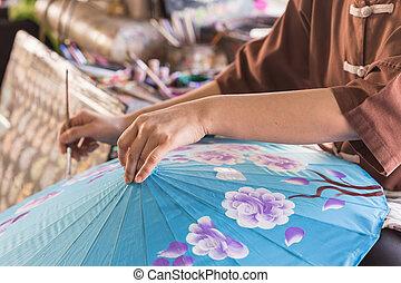 Handmade umbrella with painting process