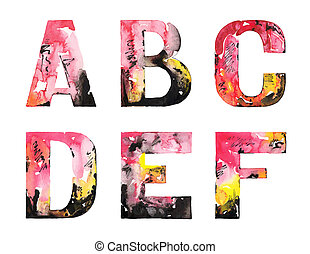 handmade watercolor alphabet design
