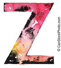 handmade watercolor alphabet design
