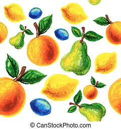 Handmade watercolor grunge fruits for retro design. Vector...