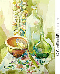 handmade watercolor kitchen still life with pot, glass ...