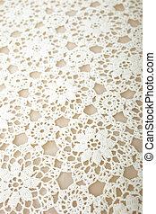 handmade white crochet tablecloth