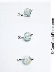 Handmade white glass beads