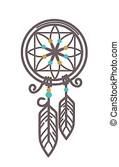 Handmade wicker dreamcatcher with feathers and beads illustration