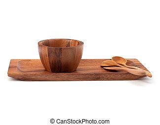 Handmade wooden kitchen dishes