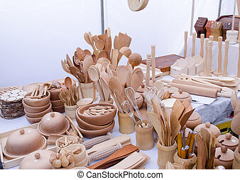 handmade diy wooden kitchen utensil tools sale in market fair.