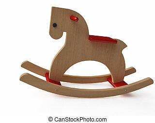Handmade Wooden Rocking Horse - Handmade Vintage Wooden...