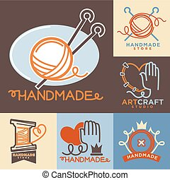 Handmade workshop logo badges with pictures isolated on white.