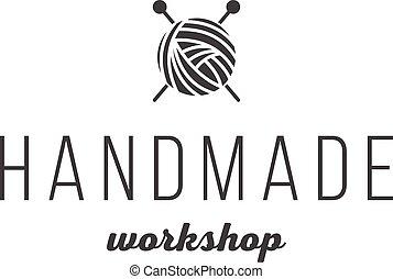 Handmade workshop logo vintage vector