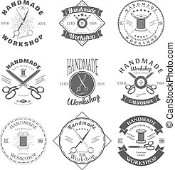 Handmade workshop logo vintage vector set. Hipster and retro style. Perfect for your business design. Vector