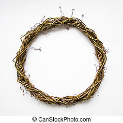 Handmade wreath of vines, blank for decoration. Flat lay, top view, view from above