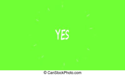 Handmade YES word doodle animation. Green screen chroma key...