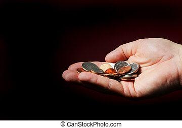 Hand full of money.
