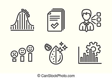 Handout, Roller coaster and Customer satisfaction icons set. Third party, Dirty water and Seo graph signs. Vector