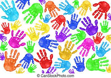 handpainted, handprints, közül, gyerekek