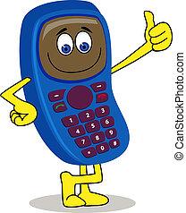handphone, caricatura, personagem